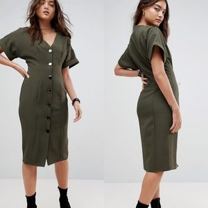 ASOS MIDI BUTTON THROUGH DRESS